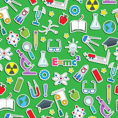 Seamless pattern on the theme of the subject of physics education, simple colored sticker icons on green  background