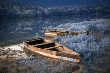 mysterious place with boats