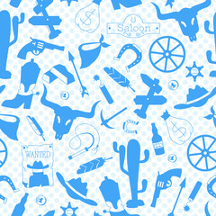 Seamless pattern on the theme of the wild West, contour icons, blue silhouettes icons on a blue background polka dot