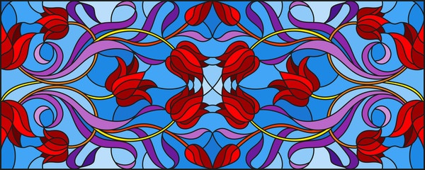 Illustration in stained glass style with abstract  swirls,flowers of Tulips and leaves  on a blue background,horizontal orientation