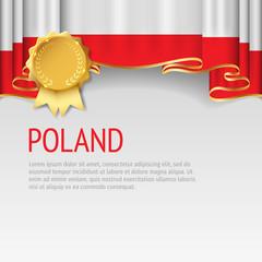 Poland flag background with badge. Flag of Poland.
