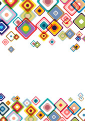 Abstract retro and geometric design background with squares and copy space
