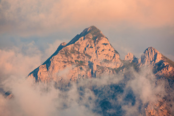Foto op Canvas Zalm Mountain peak in the morning.
