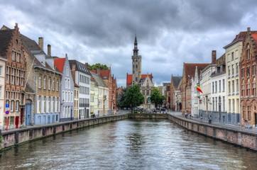 Bruges canals and Van Eyck square, Belgium