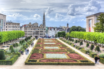 Brussels skyline and City hall tower, Belgium