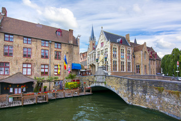 Wall Murals Bridges Bruges canals and bridges in summer, Belgium