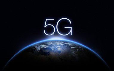 5G Network Internet Mobile Wireless Business concept.5G standard of modern signal transmission technology. Wall mural
