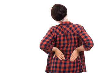 Back view of pin-up girl wearing glasses showing back pain gesture.