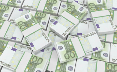3D realistic render of 100 Euro Money. euro cash background. Euro Money Banknotes