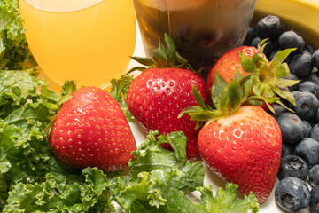 Strawberries, Kale and Juice
