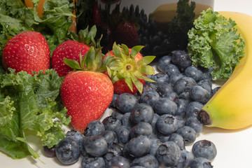 Blueberries, Strawberries and Kale
