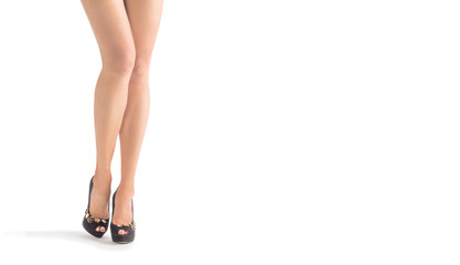 High heels shoe feet pain, isolated on white background. The woman took off her shoes from fatigue in the legs