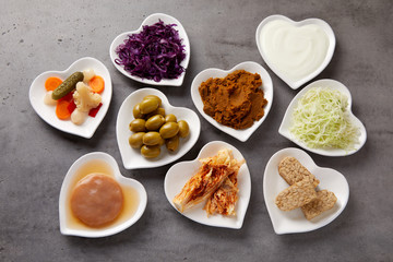 Assorted fermented foods viewed from above