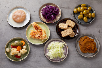 Plates with assorted fermented foods