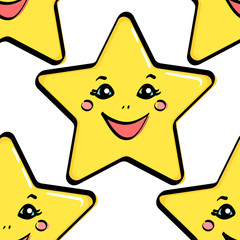 Seamless object, yellow star with a face. Vector
