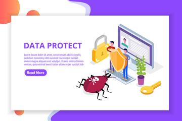 Computer virus, Data Protection isometric concept, Network data, Internet security, Secure bank transaction.  Vector illustration.
