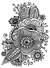Fantasy flowers and leaf, adult and children s coloring book.