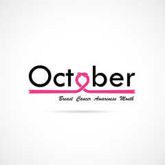 Breast Cancer October Awareness Month Typographical Campaign Background.Women health vector design.Breast cancer awareness logo design.Breast cancer awareness month icon.Realistic pink ribbon