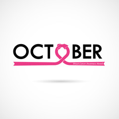 Breast Cancer October Awareness Month Typographical Campaign Background.Women health vector design.Breast cancer awareness logo design.Breast cancer awareness month icon.Realistic pink ribbon.