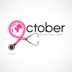 Breast Cancer October Awareness Month Campaign Background.Women health vector design.Breast cancer awareness logo design.Breast cancer awareness month icon.Realistic pink ribbon.