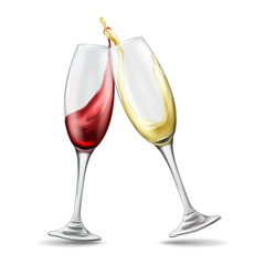 Two wine glasses with splash of red and white wine, celebratory toast, realistic vector illustration isolated on background. Transparent glassware, element design for menu, shop windows