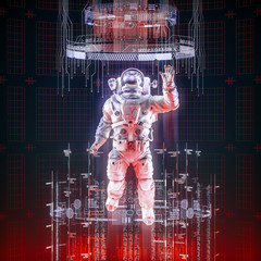 Virtual data explorer astronaut / 3D illustration of astronaut in space suit floating up through glowing virtual data