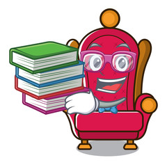Student with book king throne mascot cartoon
