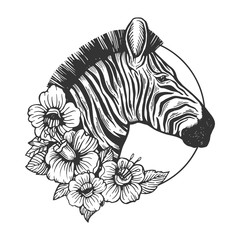 Zebra head animal engraving vector