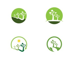 Trees logo design vector template
