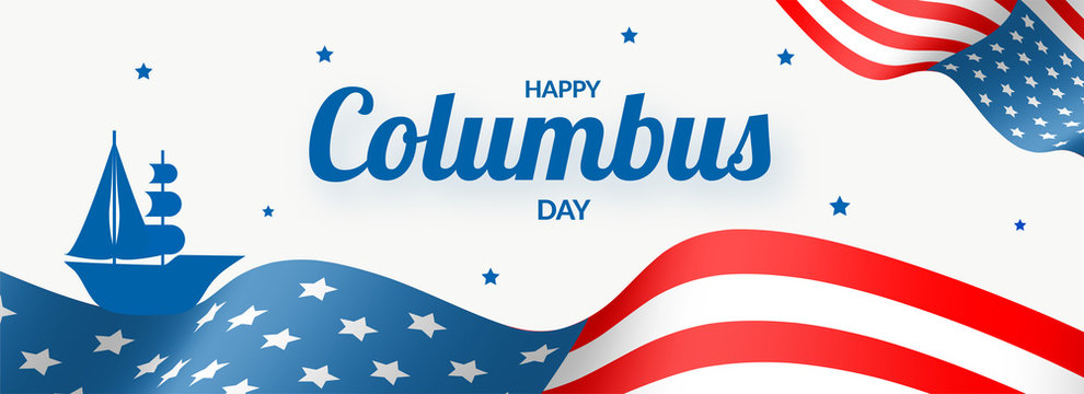 Happy Columbus Day header or banner design with illustration of ship on American flag pattern background.