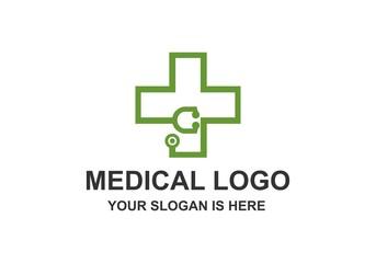 Medical, Stethoscope, Heart Pulse Logo Vector