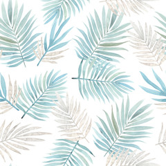 Seamless watercolor pattern with tropical leaves.