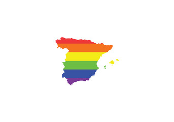 Spain pride flag LGBTI symbol colorful stripes illustration