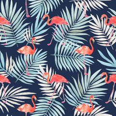 Seamless watercolor pattern with a bird flamingo and tropical leaves. Beautiful pink bird. Tropical flamingo.