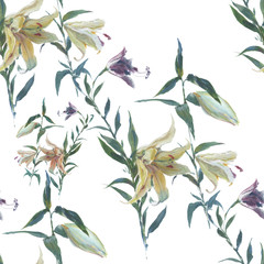 Watercolor,oil painting of leaf and flowers, seamless pattern on white background