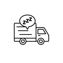 delivery truck sleep icon. shipment courier take a break illustration. simple outline vector symbol design.