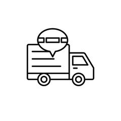 delivery truck traffic jam icon. shipment delay illustration. simple outline vector symbol design.
