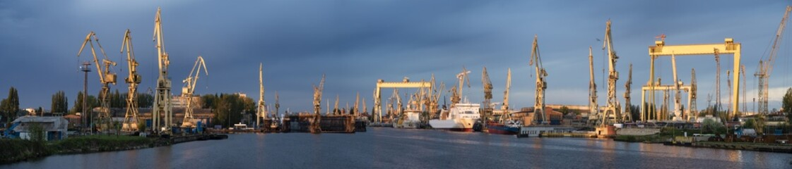 industrial areas of the shipyard in Szczecin in Poland,high resolution panorama
