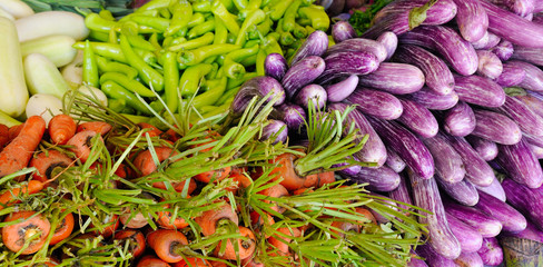 Fresh and organic vegetables at farmers market. Street trade in Sri Lanka. Wide photo.