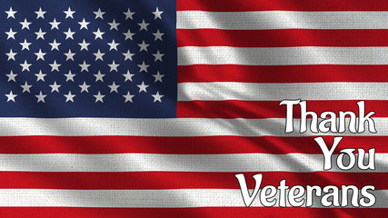 Thank you veterans text and the flag of the USA 1