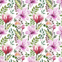 Hand-painted watercolor botany flower and leaves illustration seamless pattern on white background