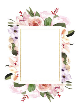 Hand-painted watercolor pastel flowers illustration wedding invitation card template on white background