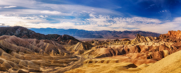 Panoramic view from the Zabriskie point in Death Valley
