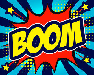 Boom comic text in speech bubble. Colored pop art style sound effect. Vector illustration banner