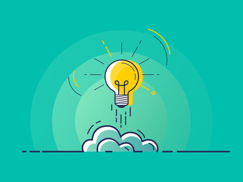 Light bulb rocket launch for idea boost. Trendy flat vector on green background. Vector Illustration.