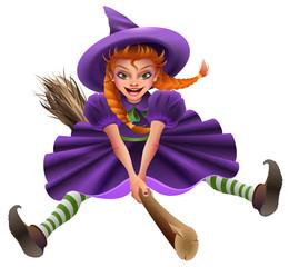 Woman witch flies on broom. Masquerade Halloween Dress