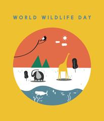 World wildlife day concept illustration