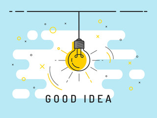 Light bulb with rays shine. Idea symbol.Trendy flat vector on blue background. Vector Illustration. Wall mural