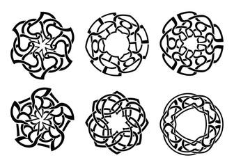 Vector ornament, decorative Celtic knots and curls set.