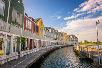 Skyline of Houten with famous Rainbow Houses in Netherlands